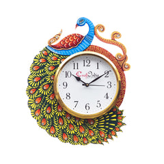 kwc702-ecraftindia-handicraft-peacock-analog-wall-clock-yellow-blue-with-glass_1