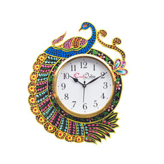 kwc703-ecraftindia-handicraft-peacock-analog-wall-clock-yellow-blue-with-glass_1