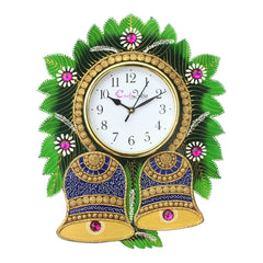 kwc714-ecraftindia-floral-bell-design-handcrafted-wooden-wall-clock_1