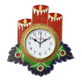 kwc715-ecraftindia-floral-candle-design-handcrafted-wooden-wall-clock_1