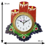 kwc715-ecraftindia-floral-candle-design-handcrafted-wooden-wall-clock_3