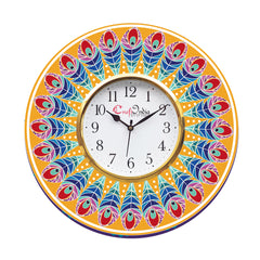 kwc905-ecraftindia-ethnic-feather-design-wooden-colorful-round-wall-clock_1