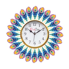 kwc918-ecraftindia-ethnic-feather-design-wooden-colorful-round-wall-clock_1