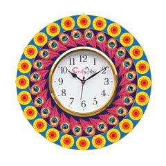 kwc919-ecraftindia-ethnic-design-wooden-colorful-round-wall-clock_1