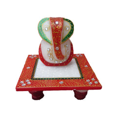 MGG506-eCraftIndia-Lord-Ganesha-on-Red-Marble-Chowki_1
