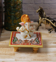 eCraftIndia Lord Ganesha with Crown on Marble Chowki