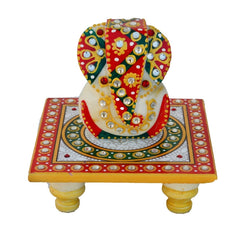 eCraftIndia Lord Ganesha on Kundan Studded Marble Chowki