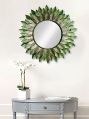 MIIWCACF_2417_M-eCraftIndia-Green,-Brown-and-Black-Decorative-Metal-Handcarved-Wall-Mirror_1