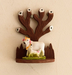 eCraftIndia Polyresin Cow and Calf Under Wooden Tree Figurine