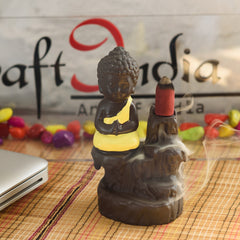 MSBIH901_YL-eCraftIndia-Meditating-Monk-Buddha-Decorative-Showpiece-with-10-free-Smoke-Backflow-Scented-Cone-Incenses_1