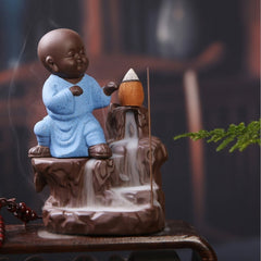 eCraftIndia Karate Style Monk Buddha Smoke Backflow Cone Incense Holder Decorative Showpiece with 10 free Smoke Backflow Scented Cone Incenses