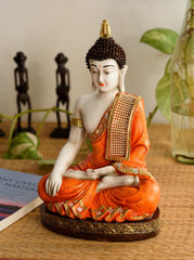 ecraftindia-fiber-meditating-buddha-orange_1