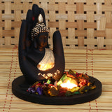 MSGB527W1-eCraftIndia-Golden-Handcrafted-Palm-Buddha-Decorative-Showpiece-with-Wooden-Base,-Fragranced-Petals-and-Tealight_1