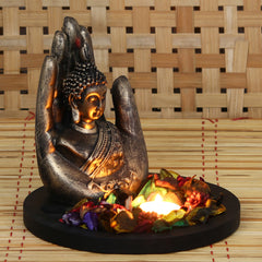 MSGB527_CPW1-eCraftIndia-Copper-Finish-Handcrafted-Palm-Buddha-Decorative-Showpiece-with-Wooden-Base,-Fragranced-Petals-and-Tealight_1