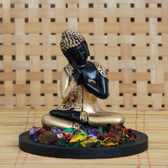 MSGB543W1-eCraftIndia-Golden-Resting-Buddha-Decorative-Showpiece-with-Wooden-Base,-Fragranced-Petals-and-Tealight_1