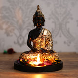 ecraftindia-handcrafted-meditating-blessing-golden-buddha-with-wooden-base,-fragranced-petals-and-tealight_2