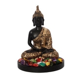 ecraftindia-handcrafted-meditating-blessing-golden-buddha-with-wooden-base,-fragranced-petals-and-tealight_3