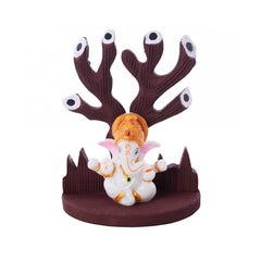 eCraftIndia Polyresin Paghdi Lord Ganesha Under Wooden Tree Figurine