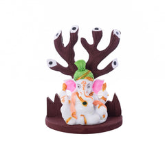 eCraftIndia Polyresin Lord Ganesha With Turban Under Wooden Tree Figurine