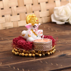 MSGG570-eCraftIndia-Lord-Ganesha-Idol-on-Decorative-Plate-with-Tea-Light-Holder_1