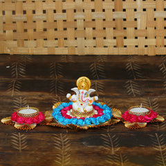 MSGG583-eCraftIndia-Lord-Ganesha-Idol-on-Decorative-Plate-with-2-Tea-Light-Holders_1