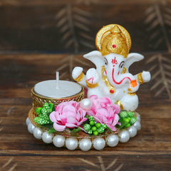 MSGG584-eCraftIndia-Lord-Ganesha-Idol-on-Decorative-Plate-with-Tea-Light-Holder_1