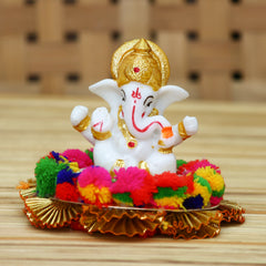 MSGG585-eCraftIndia-Lord-Ganesha-Idol-on-Decorative-Handcrafted-Plate-for-Home-and-Car_1