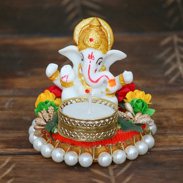 MSGG586-eCraftIndia-Lord-Ganesha-Idol-on-Decorative-Plate-with-Tea-Light-Holder_1