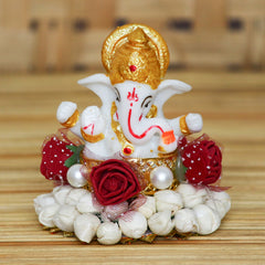 MSGG590-eCraftIndia-Lord-Ganesha-Idol-on-Decorative-Handcrafted-Plate-for-Home-and-Car_1