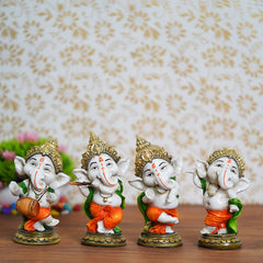 MSGG592-eCraftIndia-Set-of-4-Colorful-Lord-Ganesha-Dancing-Avatar-Decorative-Showpiece_1
