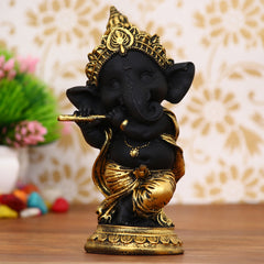 MSGG593B-eCraftIndia-Golden-and-Black-Lord-Ganesha-Dancing-Avatar-Decorative-Showpiece_1
