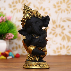 MSGG593C-eCraftIndia-Golden-and-Black-Lord-Ganesha-Dancing-Avatar-Decorative-Showpiece_1