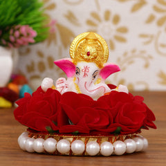 MSGG594-eCraftIndia-Lord-Ganesha-Idol-on-Decorative-Handcrafted-Plate-with-Red-Flowers_1