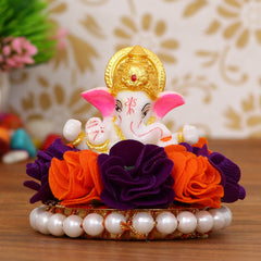 MSGG595-eCraftIndia-Lord-Ganesha-Idol-on-Decorative-Handcrafted-Plate-with-Orange-and-Purple-Flowers_1