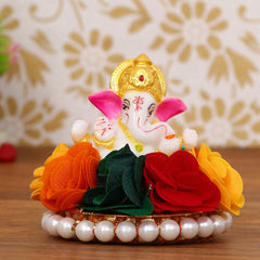 MSGG596-eCraftIndia-Lord-Ganesha-Idol-on-Decorative-Handcrafted-Plate-with-Colorful-Flowers_1