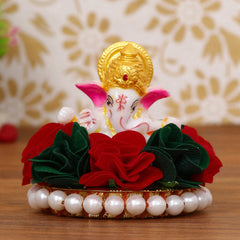 MSGG597-eCraftIndia-Lord-Ganesha-Idol-on-Decorative-Handcrafted-Plate-with-Colorful-Flowers_1