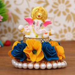 MSGG598-eCraftIndia-Lord-Ganesha-Idol-on-Decorative-Handcrafted-Plate-with-Yellow-and-Blue-Flowers_1
