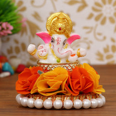 MSGG600-eCraftIndia-Lord-Ganesha-Idol-on-Decorative-Handcrafted-Plate-with-Orange-and-Yellow-Flowers_1