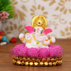 MSGG601-eCraftIndia-Lord-Ganesha-Idol-on-Decorative-Handcrafted-Plate-with-Pink-Flowers_1
