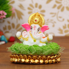 MSGG602-eCraftIndia-Lord-Ganesha-Idol-on-Decorative-Handcrafted-Plate-with-Green-Flowers_1