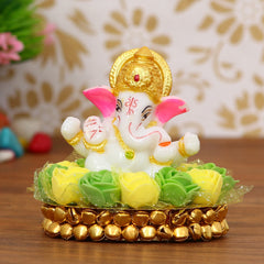 MSGG603-eCraftIndia-Lord-Ganesha-Idol-on-Decorative-Handcrafted-Plate-with-Green-and-Yellow-Flowers_1