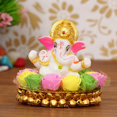 MSGG604-eCraftIndia-Lord-Ganesha-Idol-on-Decorative-Handcrafted-Plate-with-Colorful-Flowers_1