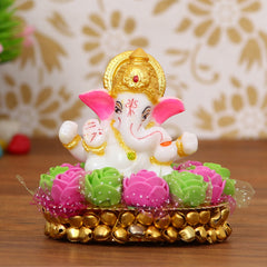 MSGG605-eCraftIndia-Lord-Ganesha-Idol-on-Decorative-Handcrafted-Plate-with-Pink-and-Green-Flowers_1