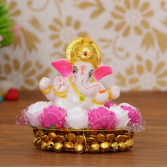 MSGG606-eCraftIndia-Lord-Ganesha-Idol-on-Decorative-Handcrafted-Plate-with-Pink-and-White-Flowers_1