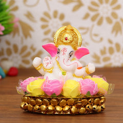 MSGG607-eCraftIndia-Lord-Ganesha-Idol-on-Decorative-Handcrafted-Plate-with-Pink-and-Yellow-Flowers_1