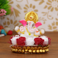 MSGG608-eCraftIndia-Lord-Ganesha-Idol-on-Decorative-Handcrafted-Plate-with-Red-and-White-Flowers_1