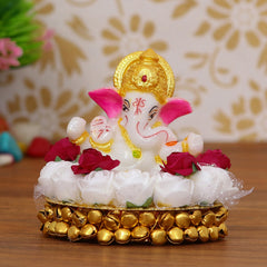 MSGG609-eCraftIndia-Lord-Ganesha-Idol-on-Decorative-Handcrafted-Plate-with-White-Flowers_1