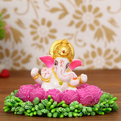 MSGG610-eCraftIndia-Lord-Ganesha-Idol-on-Decorative-Handcrafted-Plate-with-Pink-Flowers_1