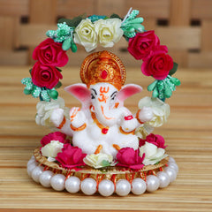 MSGG613-eCraftIndia-Lord-Ganesha-Idol-on-Decorative-Handcrafted-Plate-with-Throne-of-Colorful-Flowers_1