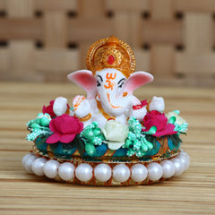 MSGG614-eCraftIndia-Lord-Ganesha-Idol-on-Decorative-Handcrafted-Plate-with-Colorful-Flowers_1